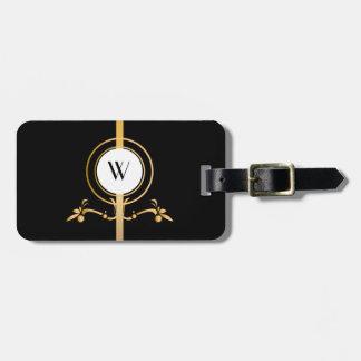 Elegant Black and Gold Monogram Design   Luggage Tag