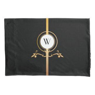 Elegant Black and Gold Monogram Design | Pillowcase