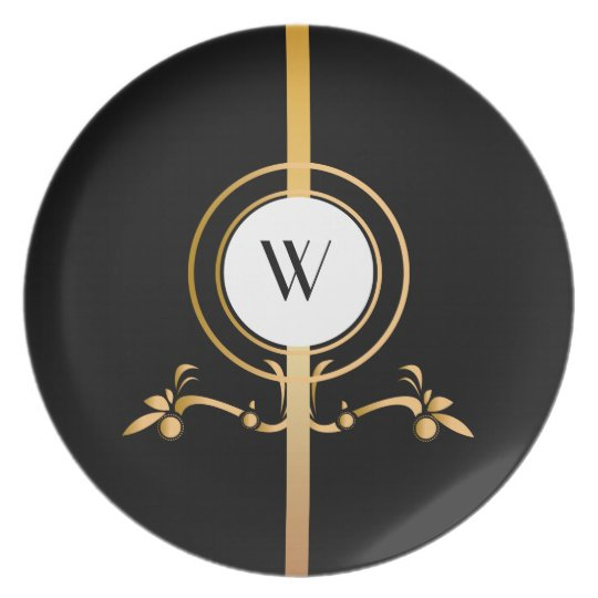 Elegant Black and Gold Monogram Design   Plate