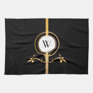 Elegant Black and Gold Monogram Design | Tea Towel
