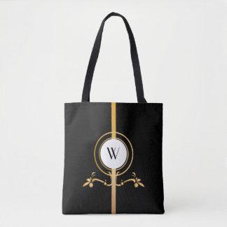 Elegant Black and Gold Monogram Design   Tote Bag