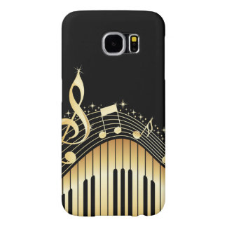 Elegant Black And Gold Music Notes Design Samsung Galaxy S6 Cases
