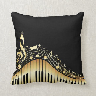 Elegant Black And Gold Music Notes Design Cushion