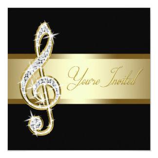 Elegant Black and Gold Music Treble Clef Announcement
