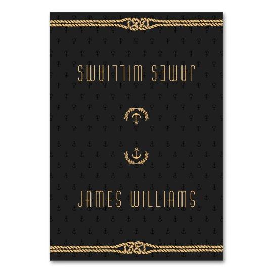 Elegant Black And Gold Nautical Wedding Place Card