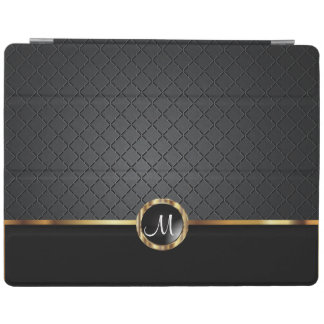 Elegant Black and Gold Pattern - Monogram iPad Cover
