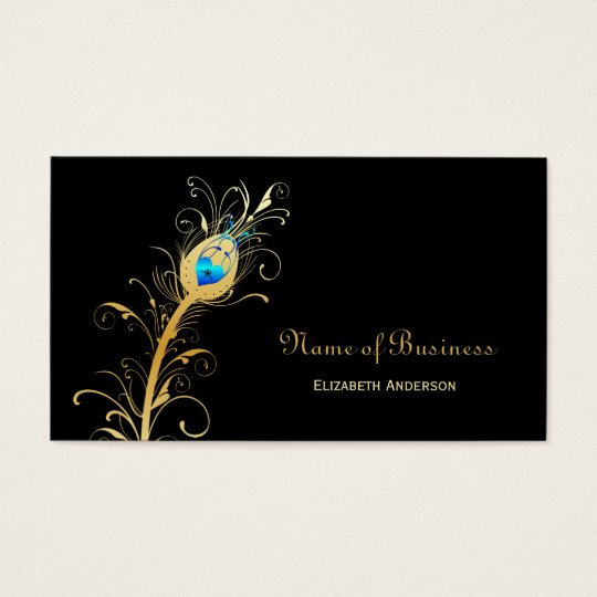 Elegant Black and Gold Peacock Feather Business Card
