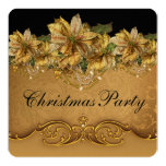 Elegant Black and Gold Poinsettia Christmas Party Personalized Invitation