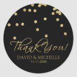 Elegant Black and Gold Polka-Dots Thank You! Round Sticker