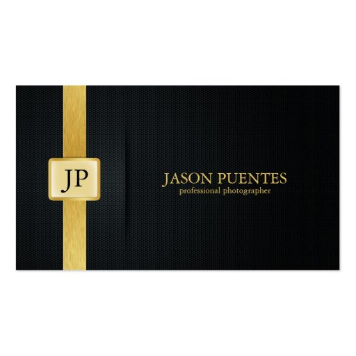 Elegant Black and Gold Professional Photographer Business Cards