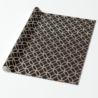 Elegant Black and Gold Quatrefoil Design Wrapping Paper