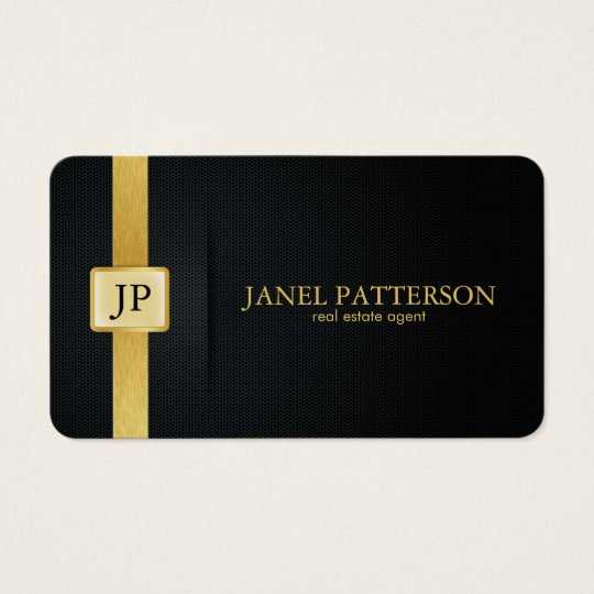 Elegant Black and Gold Real Estate Agent Business Card