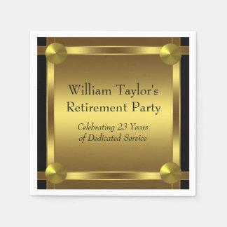 Elegant Black and Gold Retirement Paper Napkins