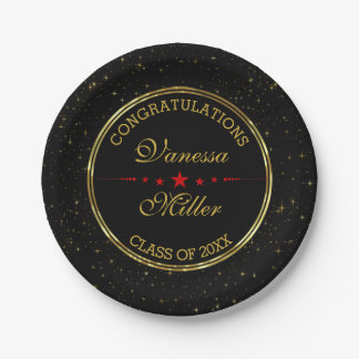 Elegant Black And Gold Shiny Stars- Graduations Paper Plate