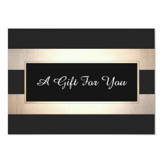 Elegant Black and Gold Stripes Gift Certificate 11 Cm X 16 Cm Invitation Card