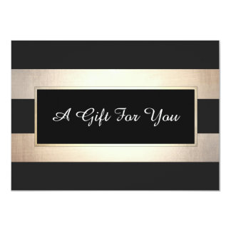 Elegant Black and Gold Stripes Gift Certificate Card
