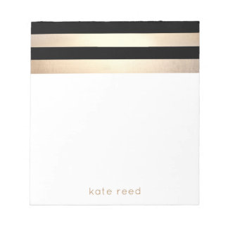 Elegant Black and Gold Stripes Name Notepad