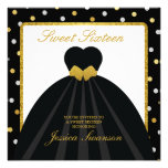 Elegant Black and Gold Sweet Sixteen Personalised Announcements