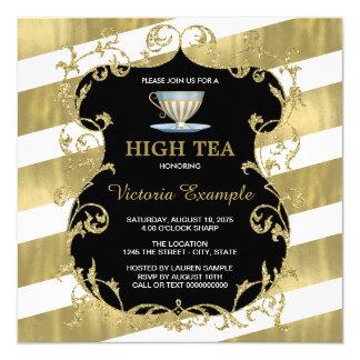 Elegant Black and Gold Tea Party 13 Cm X 13 Cm Square Invitation Card