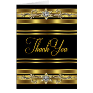 Elegant Black and Gold Thank You Cards