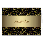 Elegant Black and Gold Thank You Note Card