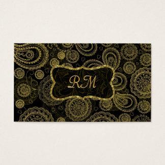 Elegant Black And Gold Vintage Gold Frame Business Card