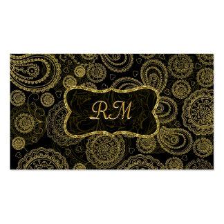Elegant Black And Gold Vintage Gold Frame Pack Of Standard Business Cards