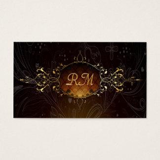 Elegant Black And Gold Vintage Gold Lace Frame 2 Business Card
