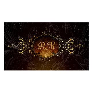 Elegant Black And Gold Vintage Gold Lace Frame 2 Pack Of Standard Business Cards