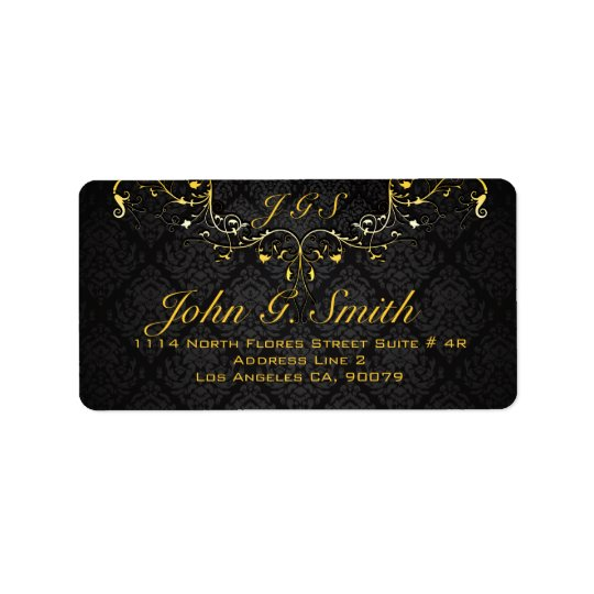 Elegant Black And Gold Vintage Gold Lace Frame Address Label