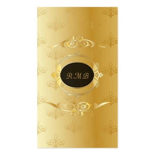 Elegant Black And Gold Vintage Gold Lace Frame Business Card