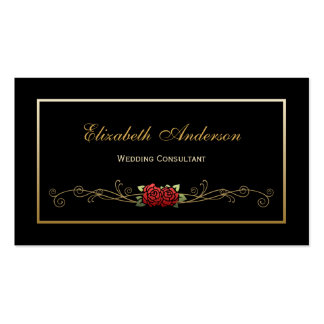 Elegant Black and Gold Wedding Consultant Red Rose Double-Sided Standard Business Cards (Pack Of 100)