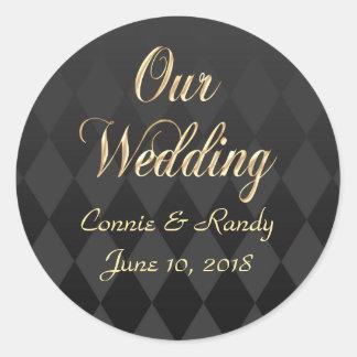 Elegant Black and Gold Wedding Sticker Sticker