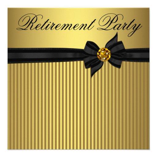 Elegant Black and Gold  Womans Retirement Party Custom Invite