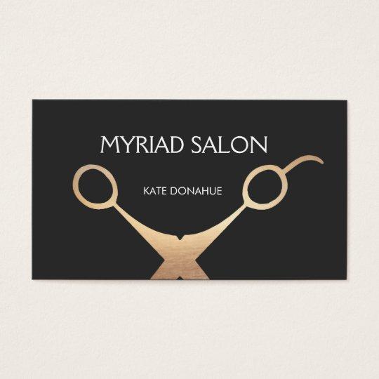 Elegant Black and GoldScissors Salon Hair Stylist Business