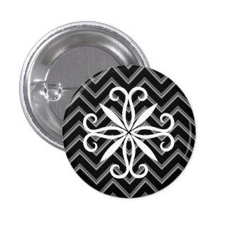 Elegant black and gray chevron pattern 3 cm round badge