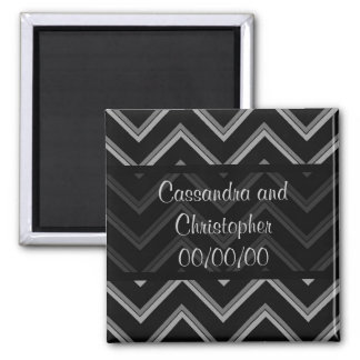 Elegant black and gray chevron save the date magnet
