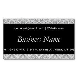 Elegant Black and Gray Damask Magnetic Business Cards
