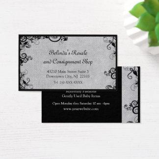 Elegant Black and Gray Deco Flourish Business Card