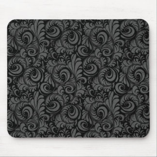 Elegant Black and Gray Floral Pattern Mouse Pad