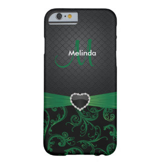 Elegant Black and Green Floral Pattern Barely There iPhone 6 Case