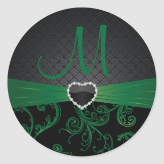 Elegant Black and Green Floral Pattern Classic Round Sticker