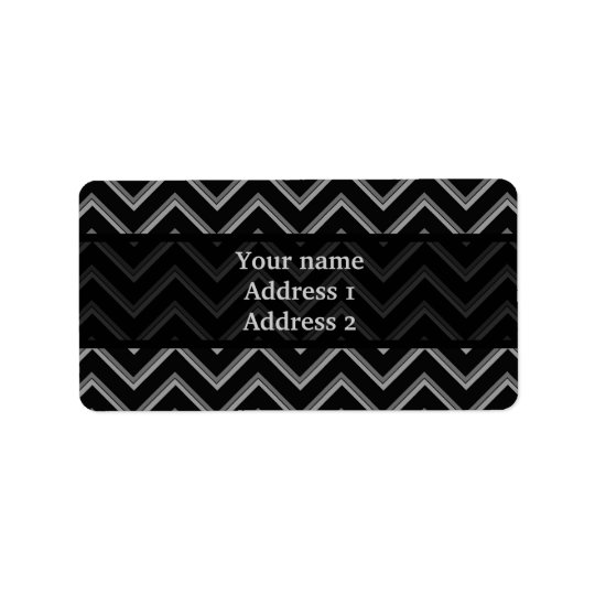 Elegant black and grey chevron pattern address label