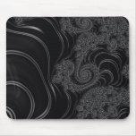 Elegant Black and Grey Fractal Mousepads