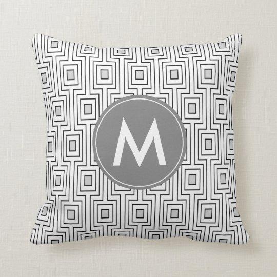Elegant Black and Grey Geometric Monogram Cushion