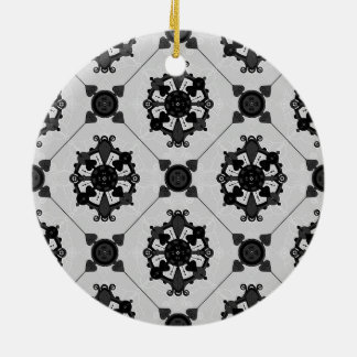 Elegant Black and Grey Medallion  Pattern Christmas Ornament