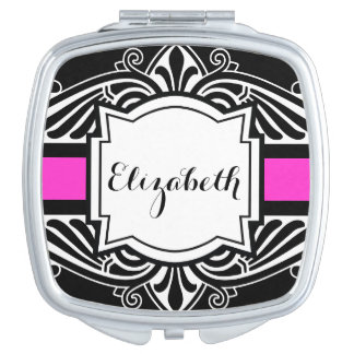 Elegant Black and Hot Pink Fancy Custom Name Compact Mirrors