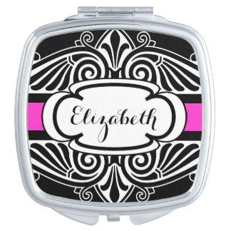 Elegant Black and Hot Pink Fancy Custom Name Vanity Mirror