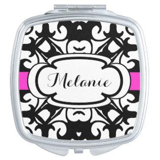 Elegant Black and Hot Pink Fancy Custom Name Mirrors For Makeup