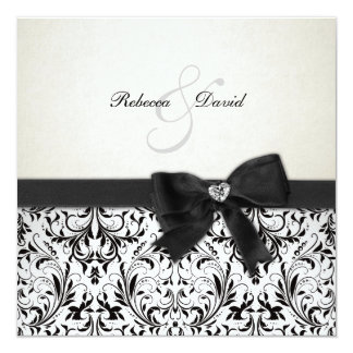 Elegant Black and Ivory Damask with diamond bow 13 Cm X 13 Cm Square Invitation Card